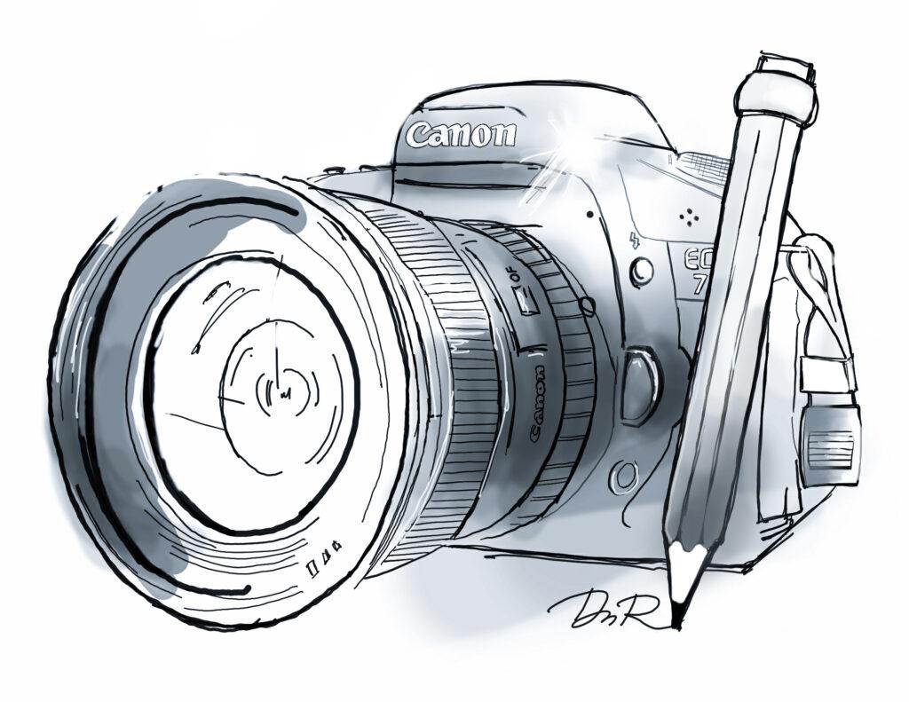 Disegno di una macchina fotografica Reflex e matita